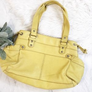 Fossil Yellow Leather Large Satchel Bag